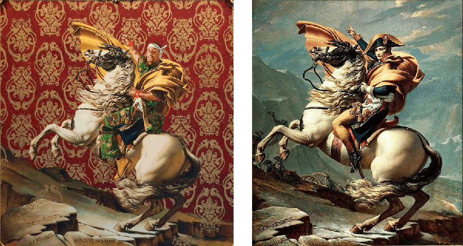 Left: Napoleon Leading the Army Over the Alps, 2005 by Kehinde Wiley Right: Napoleon Crossing the Alps, 1801 by Jacques-Louis David